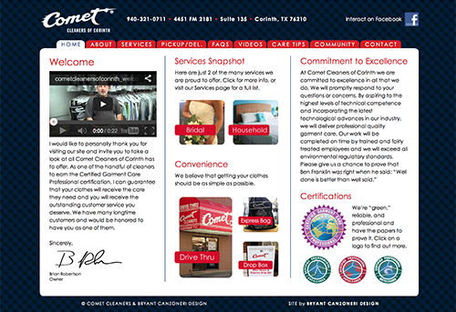 Comet Cleaners of Corinth website