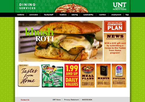 UNT Dining website