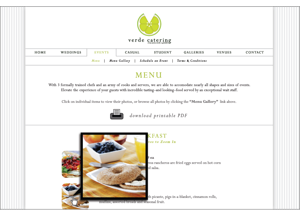 Verde Catering website